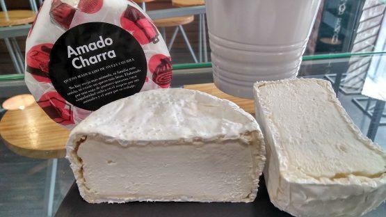 Corte del queso de pasta láctica de leche cruda de oveja churra